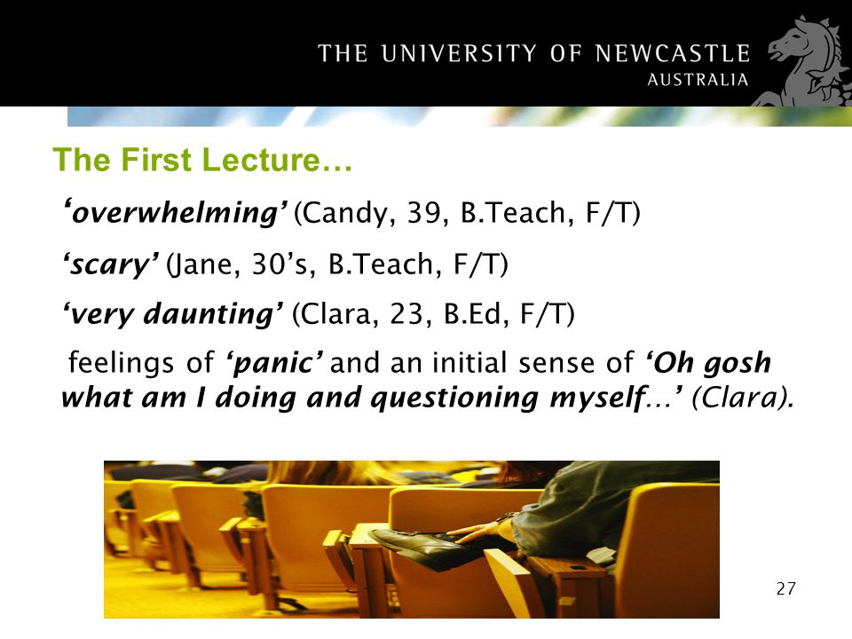 27 The First Lecture… overwhelming (Candy, 39, B.Teach, F/T) scary (Jane, 30s, B.Teach, F/T) very daunting (Clara, 23, B.Ed, F/T) feelings of panic an