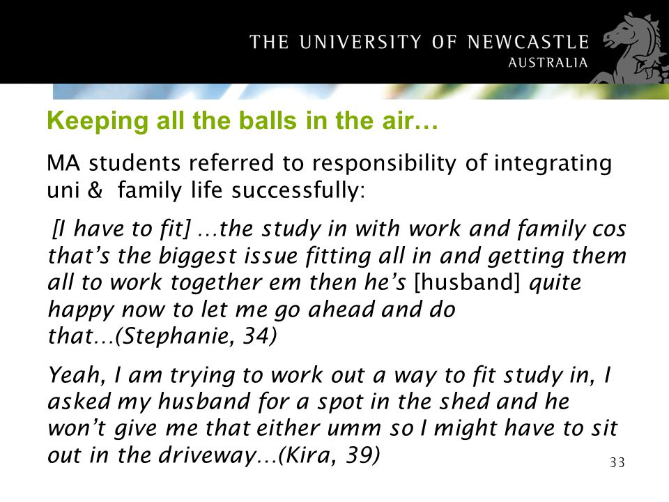 33 Keeping all the balls in the air… MA students referred to responsibility of integrating uni & family life successfully: [I have to fit] …the study