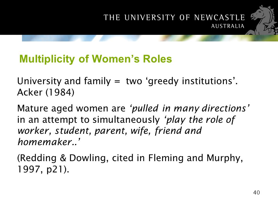 40 Multiplicity of Womens Roles University and family = two greedy institutions. Acker (1984) Mature aged women are pulled in many directions in an at