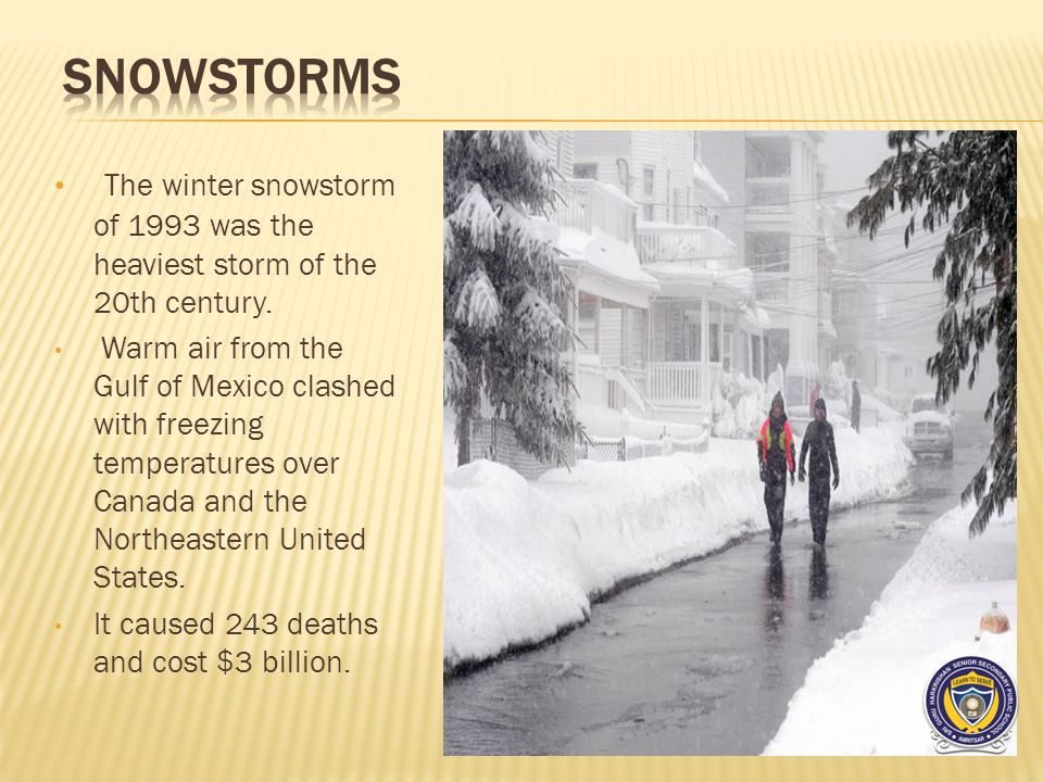 The winter snowstorm of 1993 was the heaviest storm of the 20th century.
