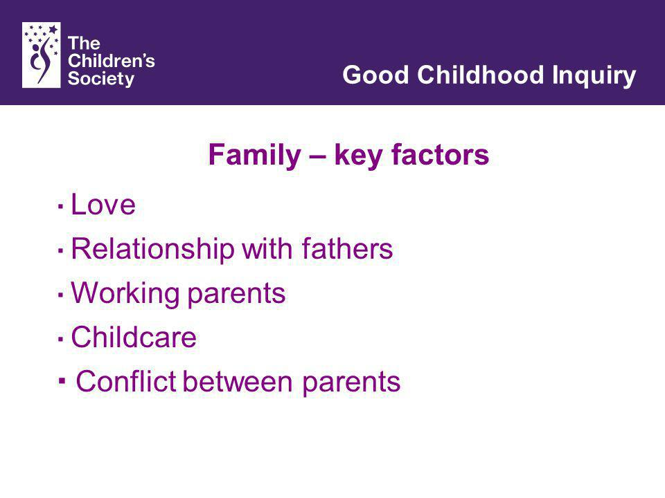 Family – key factors Good Childhood Inquiry Love Relationship with fathers Conflict between parents Working parents Childcare