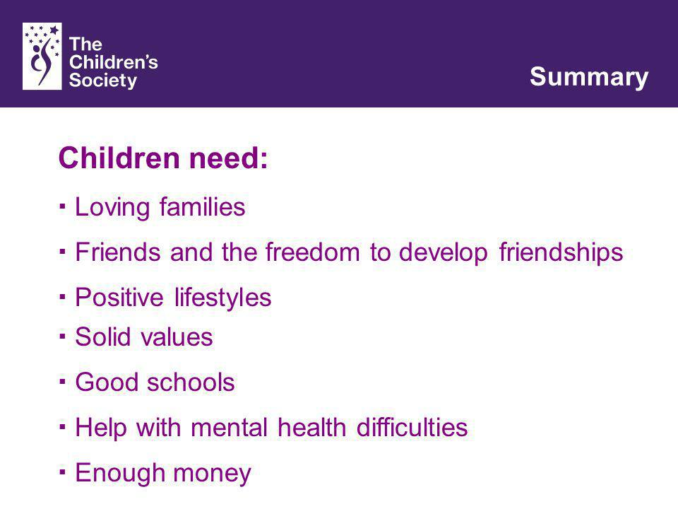 Children need: Loving families Friends and the freedom to develop friendships Good schools Positive lifestyles Solid values Help with mental health difficulties Summary Enough money