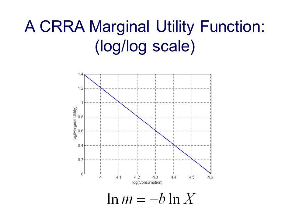 A CRRA Marginal Utility Function: (log/log scale)