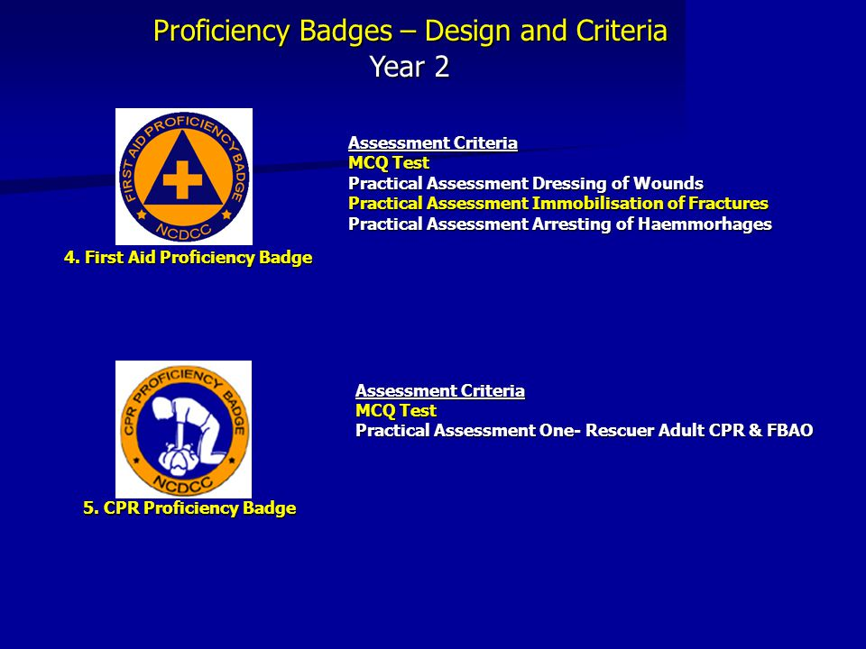 Proficiency Badges – Design and Criteria Year 2 Assessment Criteria MCQ Test Practical Assessment Dressing of Wounds Practical Assessment Immobilisati