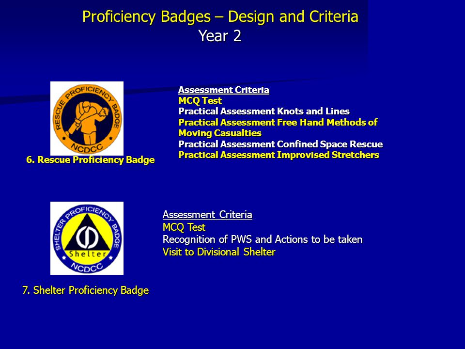 Proficiency Badges – Design and Criteria Year 2 6. Rescue Proficiency Badge Assessment Criteria MCQ Test Practical Assessment Knots and Lines Practica