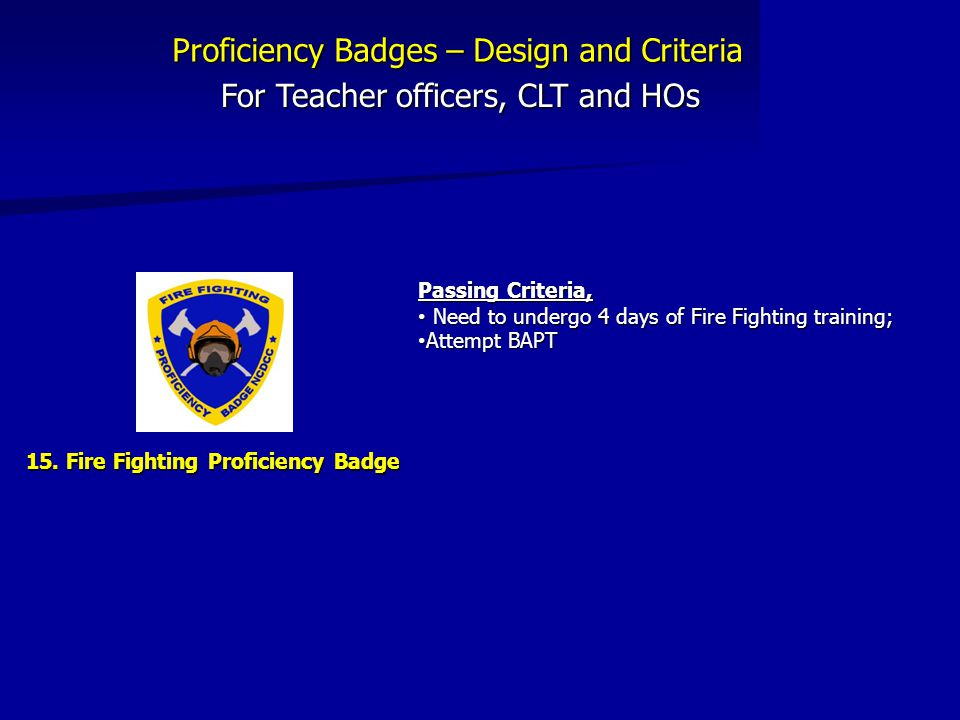 For Teacher officers, CLT and HOs 15.
