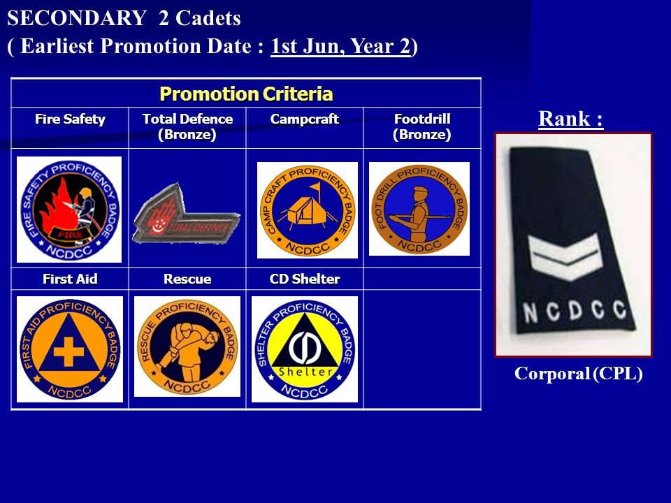 SECONDARY 2 Cadets Rank : ( Earliest Promotion Date : 1st Jun, Year 2) Corporal (CPL) Promotion Criteria Fire Safety Total Defence (Bronze) Campcraft