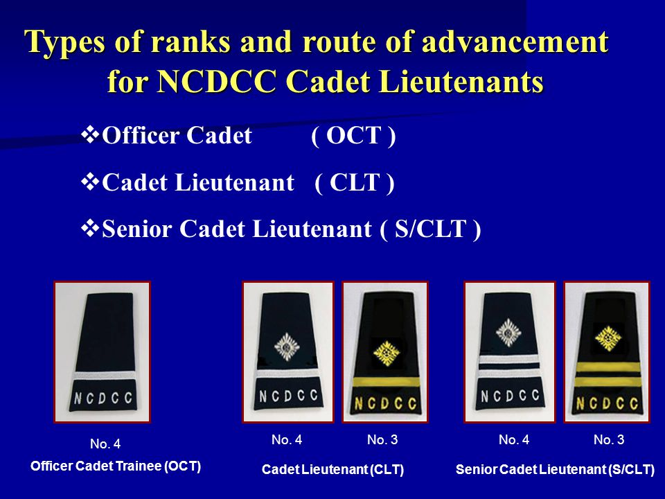 Types of ranks and route of advancement for NCDCC Cadet Lieutenants for NCDCC Cadet Lieutenants Officer Cadet ( OCT ) Cadet Lieutenant ( CLT ) Senior Cadet Lieutenant ( S/CLT ) Officer Cadet Trainee (OCT) No.