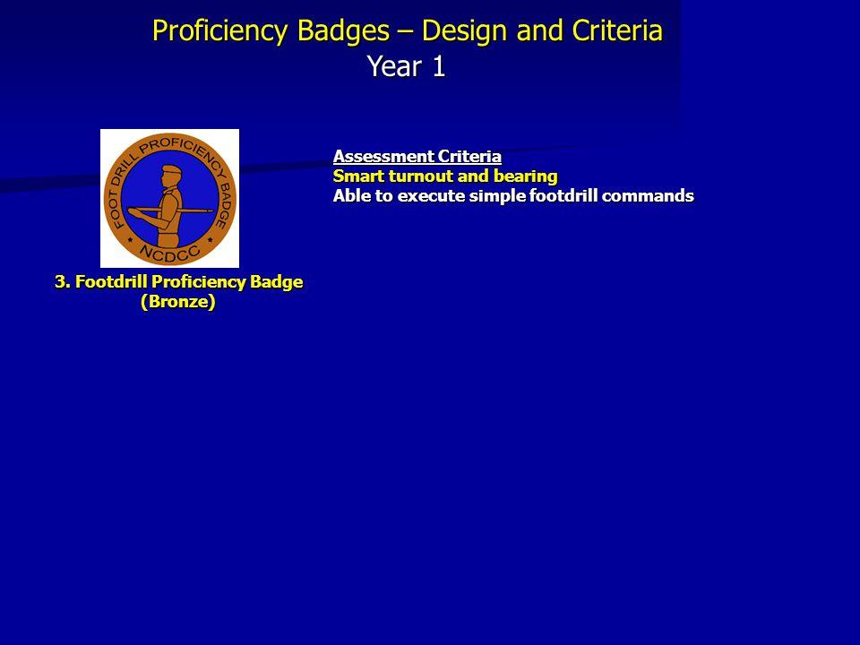 Proficiency Badges – Design and Criteria Year 1 3.