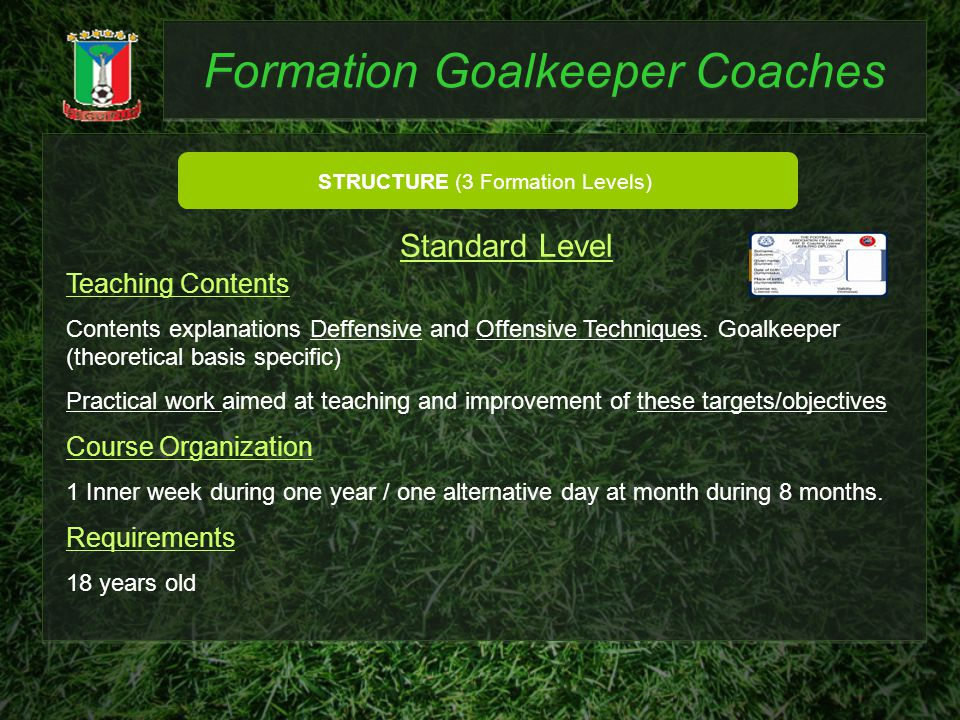 Formation Goalkeeper Coaches STRUCTURE (3 Formation Levels) Teaching Contents Contents explanations Deffensive and Offensive Techniques. Goalkeeper (t
