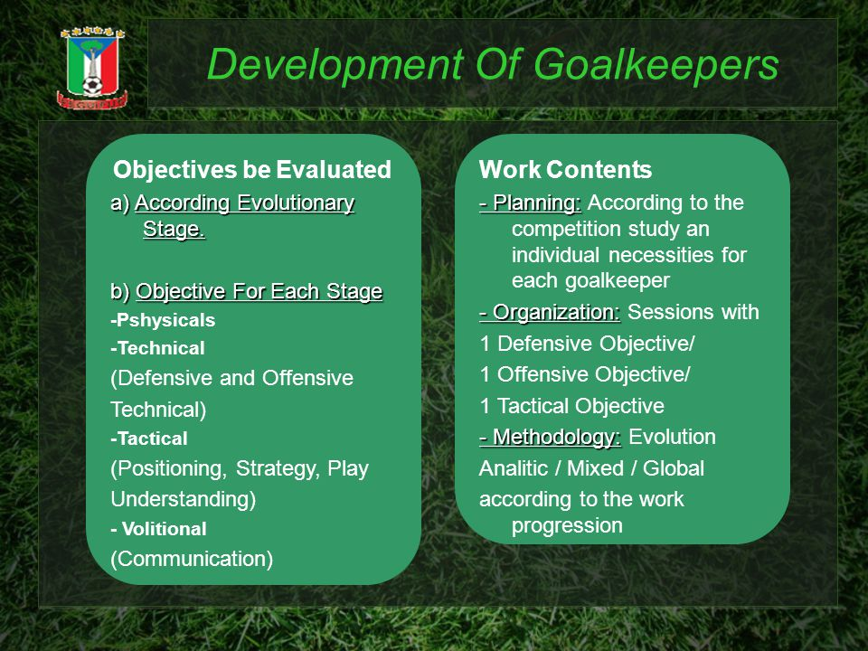 Development Of Goalkeepers Objectives be Evaluated a) According Evolutionary Stage.