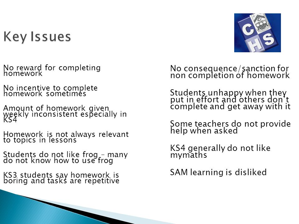 Key Issues No reward for completing homework No incentive to complete homework sometimes Amount of homework given weekly inconsistent especially in KS
