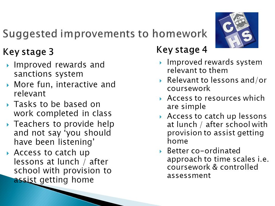 Suggested improvements to homework Key stage 3 Improved rewards and sanctions system More fun, interactive and relevant Tasks to be based on work comp