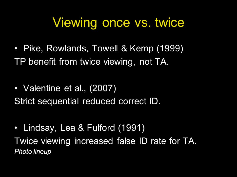 Viewing once vs. twice Pike, Rowlands, Towell & Kemp (1999) TP benefit from twice viewing, not TA.