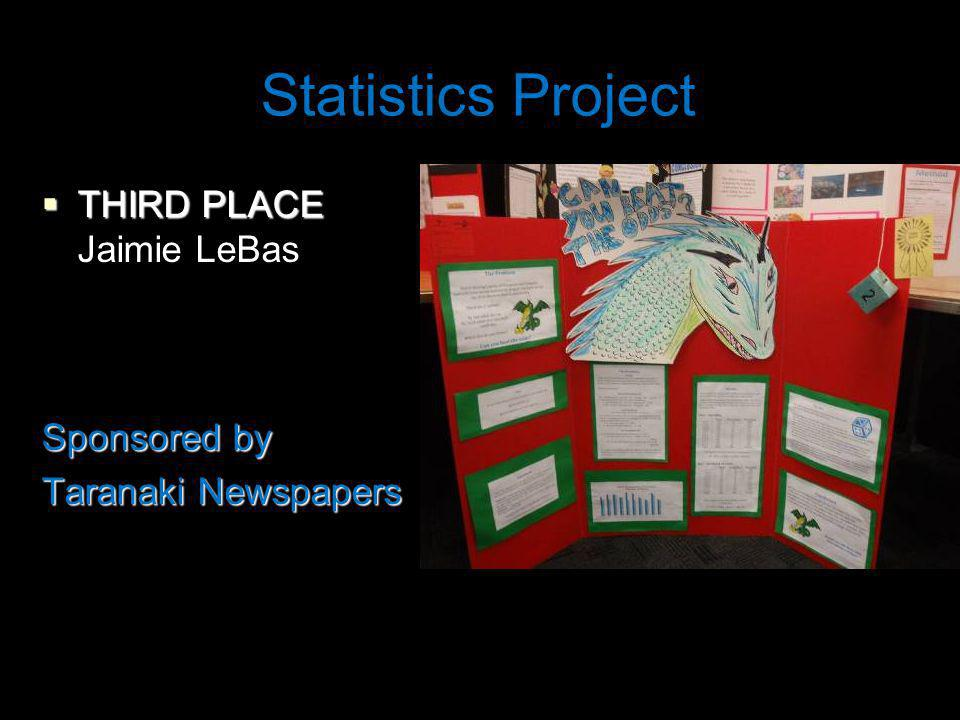 Statistics Project THIRD PLACE THIRD PLACE Jaimie LeBas Sponsored by Taranaki Newspapers