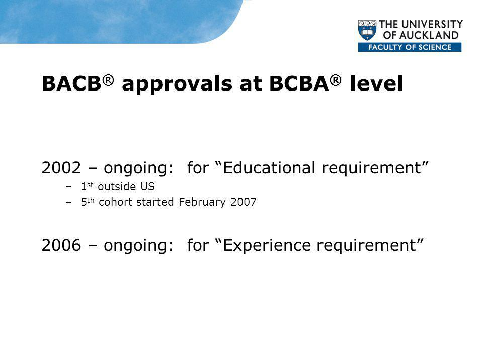 BACB ® approvals at BCBA ® level 2002 – ongoing: for Educational requirement –1 st outside US –5 th cohort started February 2007 2006 – ongoing: for E