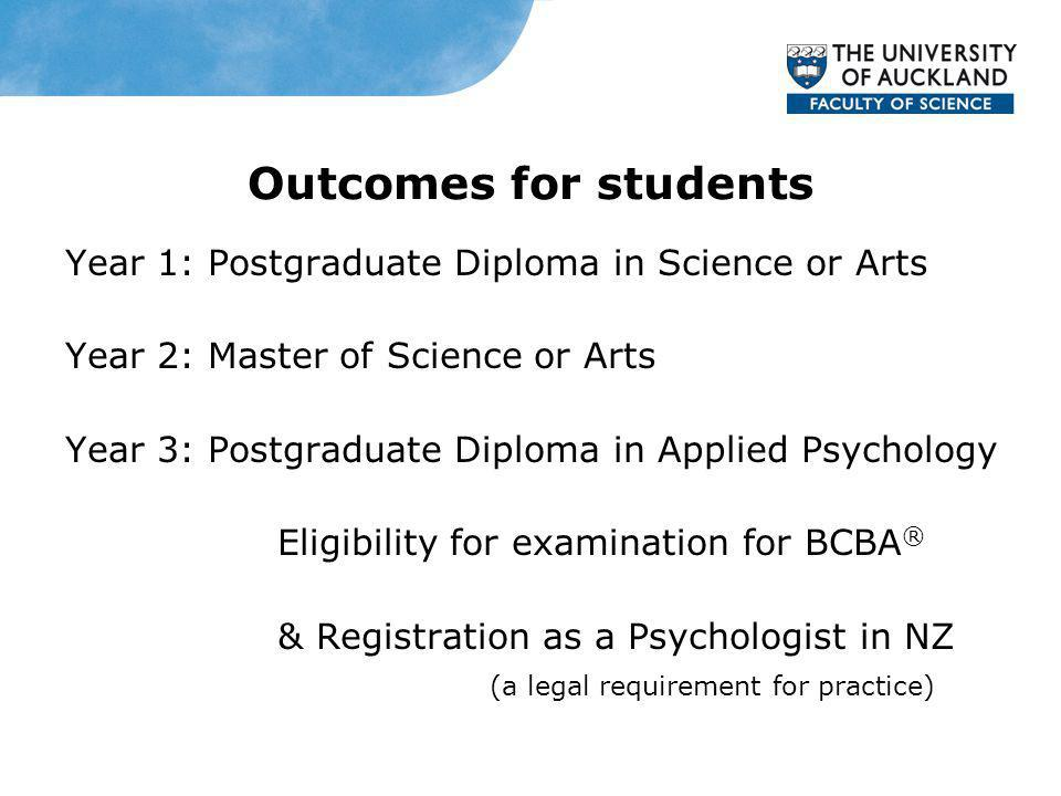 Outcomes for students Year 1: Postgraduate Diploma in Science or Arts Year 2: Master of Science or Arts Year 3: Postgraduate Diploma in Applied Psychology Eligibility for examination for BCBA ® & Registration as a Psychologist in NZ (a legal requirement for practice)