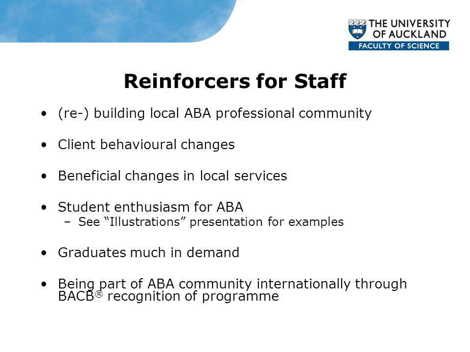 Reinforcers for Staff (re-) building local ABA professional community Client behavioural changes Beneficial changes in local services Student enthusiasm for ABA –See Illustrations presentation for examples Graduates much in demand Being part of ABA community internationally through BACB ® recognition of programme