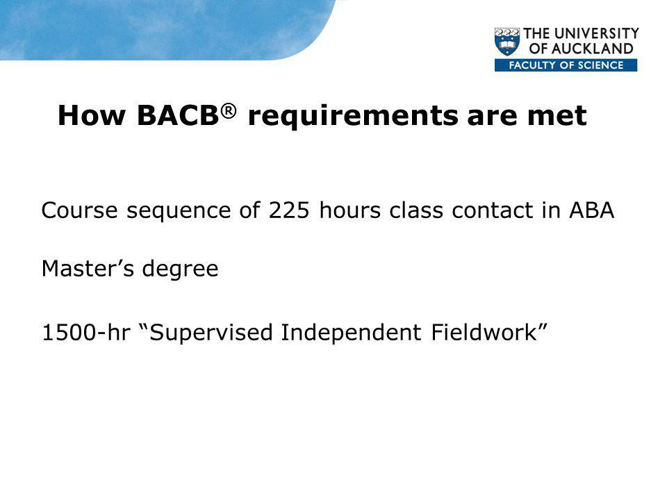 How BACB ® requirements are met Course sequence of 225 hours class contact in ABA Masters degree 1500-hr Supervised Independent Fieldwork