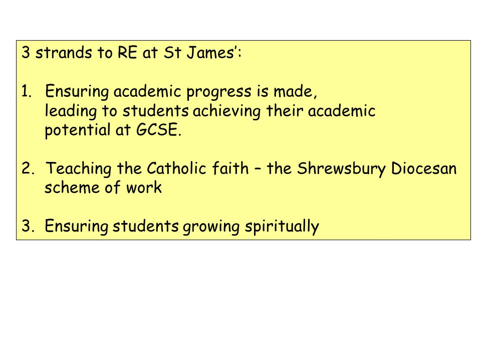 3 strands to RE at St James: 1.Ensuring academic progress is made, leading to students achieving their academic potential at GCSE. 2.Teaching the Cath