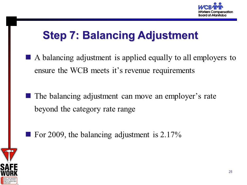 28 Step 7: Balancing Adjustment A balancing adjustment is applied equally to all employers to ensure the WCB meets its revenue requirements The balancing adjustment can move an employers rate beyond the category rate range For 2009, the balancing adjustment is 2.17%