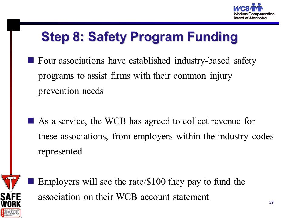 29 Step 8: Safety Program Funding Four associations have established industry-based safety programs to assist firms with their common injury prevention needs As a service, the WCB has agreed to collect revenue for these associations, from employers within the industry codes represented Employers will see the rate/$100 they pay to fund the association on their WCB account statement