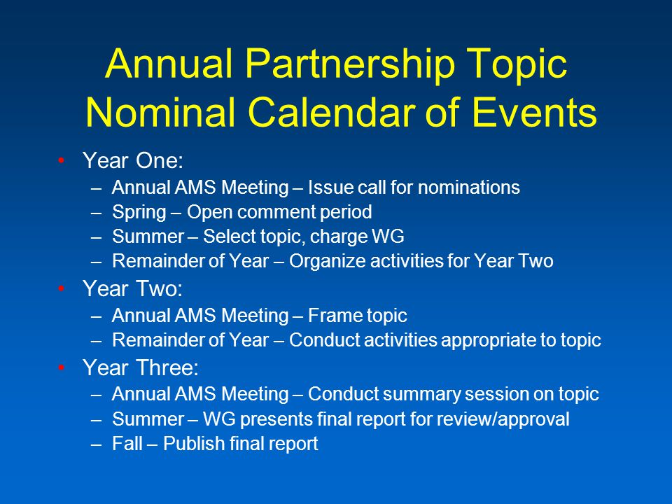 Annual Partnership Topic Nominal Calendar of Events Year One: –Annual AMS Meeting – Issue call for nominations –Spring – Open comment period –Summer – Select topic, charge WG –Remainder of Year – Organize activities for Year Two Year Two: –Annual AMS Meeting – Frame topic –Remainder of Year – Conduct activities appropriate to topic Year Three: –Annual AMS Meeting – Conduct summary session on topic –Summer – WG presents final report for review/approval –Fall – Publish final report