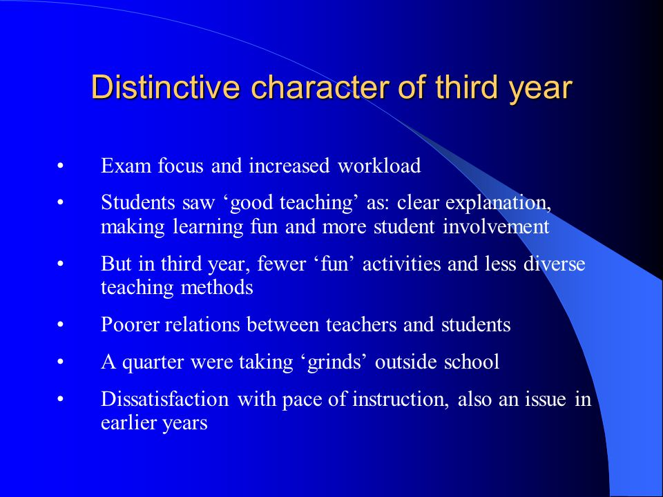 Distinctive character of third year Exam focus and increased workload Students saw good teaching as: clear explanation, making learning fun and more student involvement But in third year, fewer fun activities and less diverse teaching methods Poorer relations between teachers and students A quarter were taking grinds outside school Dissatisfaction with pace of instruction, also an issue in earlier years