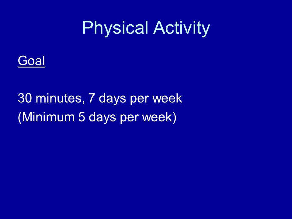 Physical Activity Goal 30 minutes, 7 days per week (Minimum 5 days per week)