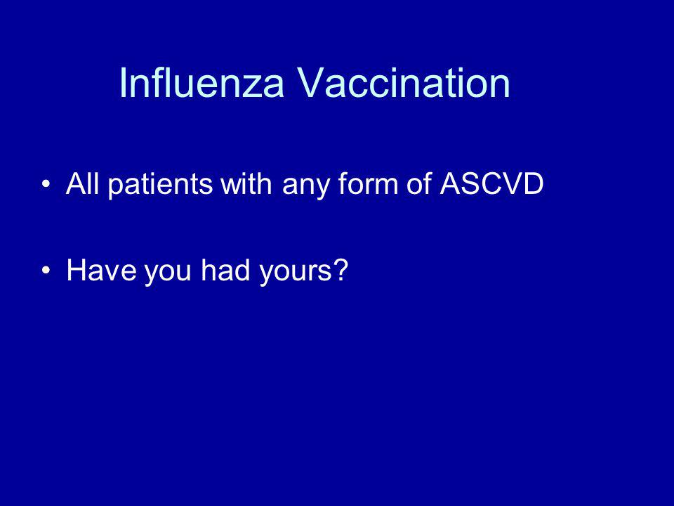 Influenza Vaccination All patients with any form of ASCVD Have you had yours?