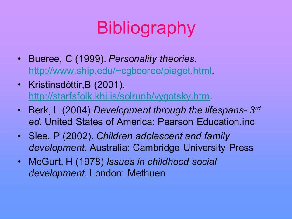 Bibliography Bueree, C (1999). Personality theories. http://www.ship.edu/~cgboeree/piaget.html. http://www.ship.edu/~cgboeree/piaget.html Kristinsdótt