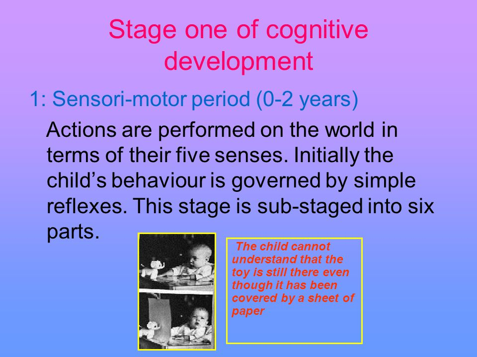 Stage one of cognitive development 1: Sensori-motor period (0-2 years) Actions are performed on the world in terms of their five senses. Initially the