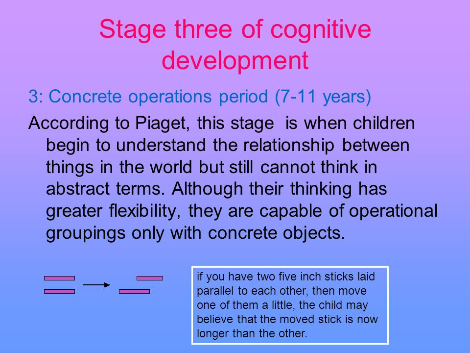 Stage three of cognitive development 3: Concrete operations period (7-11 years) According to Piaget, this stage is when children begin to understand t