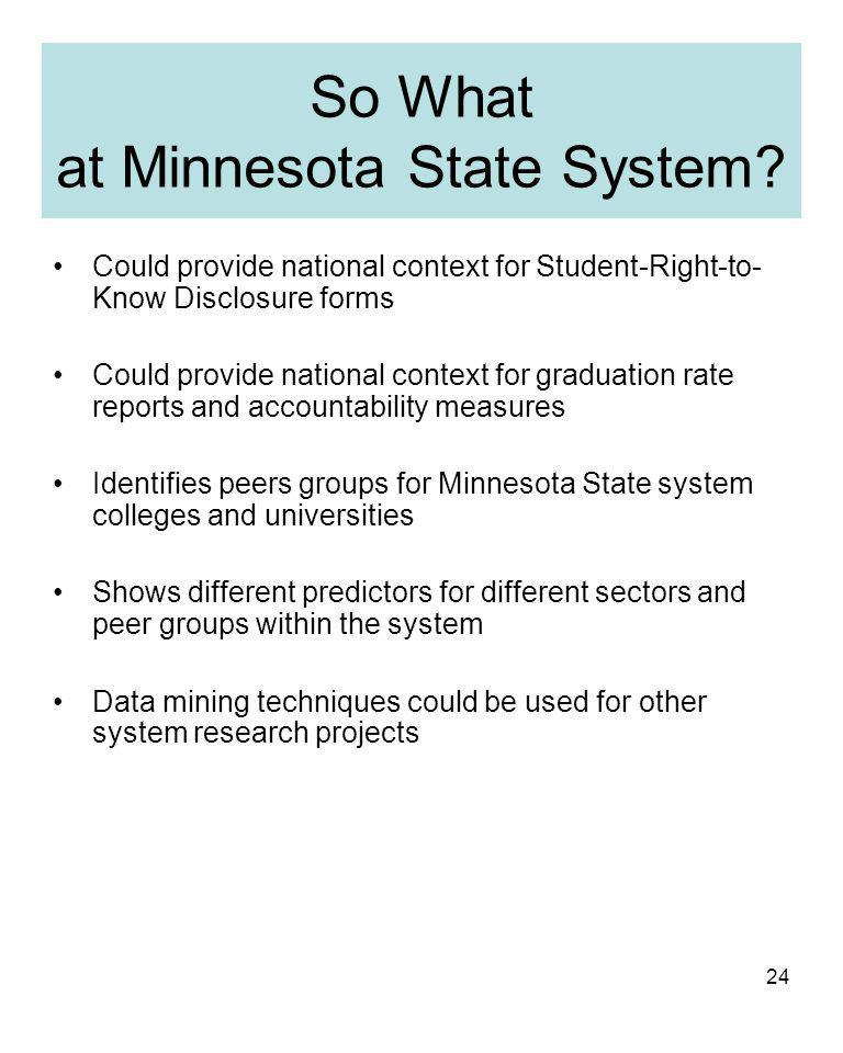 24 So What at Minnesota State System.