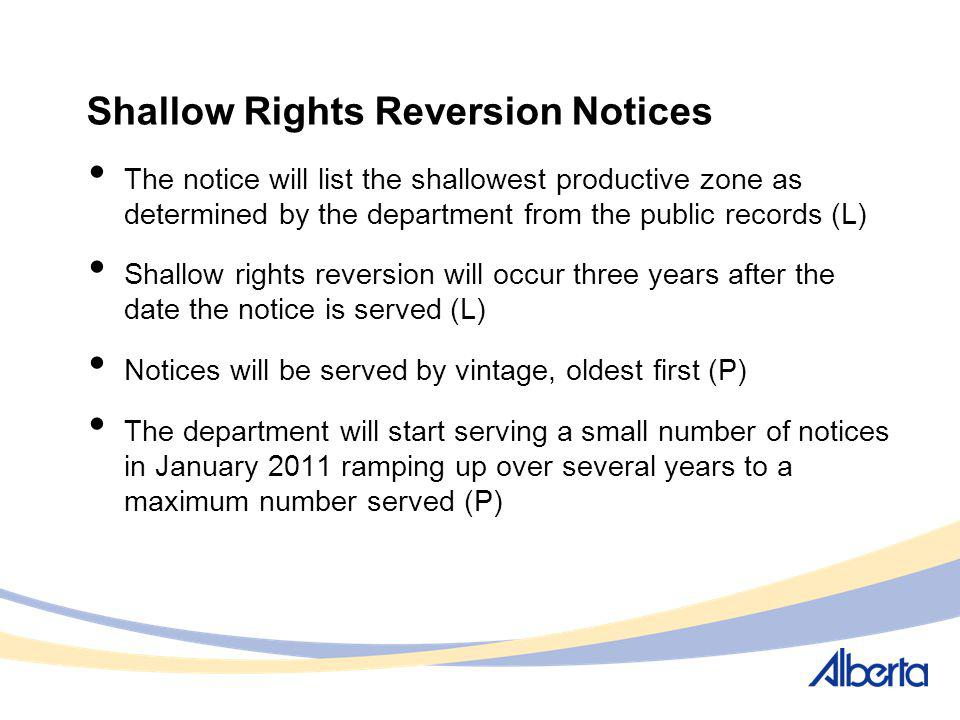 Shallow Rights Reversion Notices The notice will list the shallowest productive zone as determined by the department from the public records (L) Shall