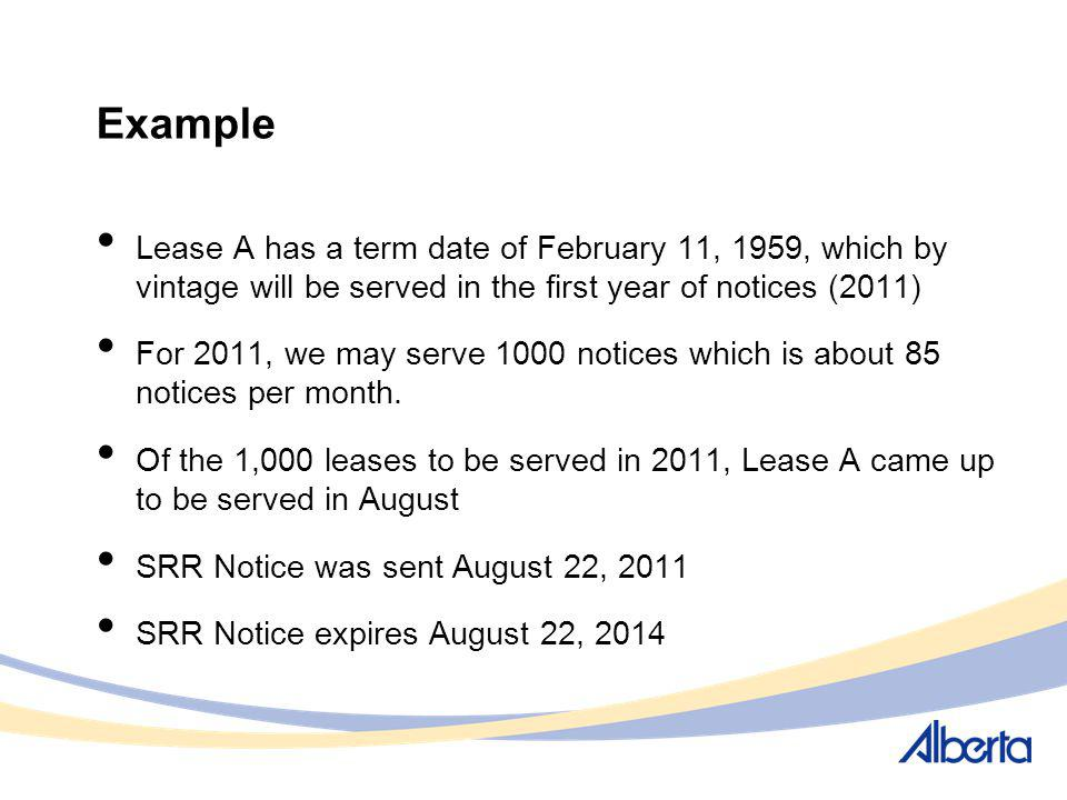 Example Lease A has a term date of February 11, 1959, which by vintage will be served in the first year of notices (2011) For 2011, we may serve 1000