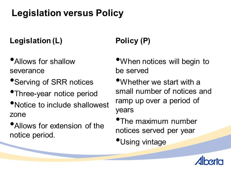 Legislation versus Policy Legislation (L) Allows for shallow severance Serving of SRR notices Three-year notice period Notice to include shallowest zo