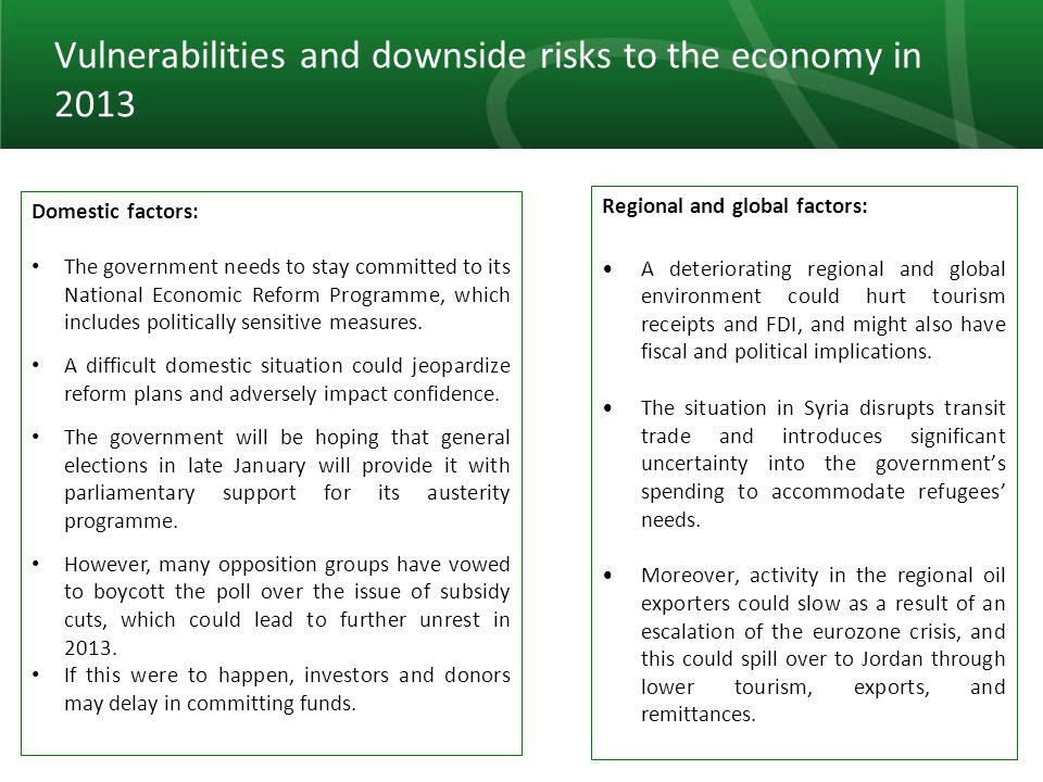 25 Vulnerabilities and downside risks to the economy in 2013 Domestic factors: The government needs to stay committed to its National Economic Reform Programme, which includes politically sensitive measures.