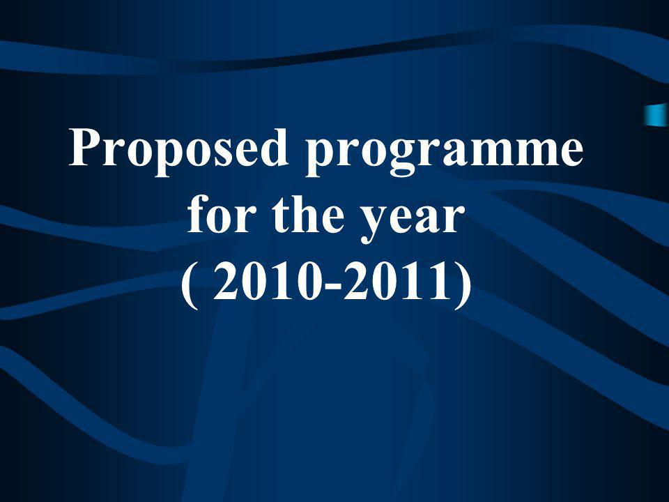 Proposed programme for the year ( 2010-2011)