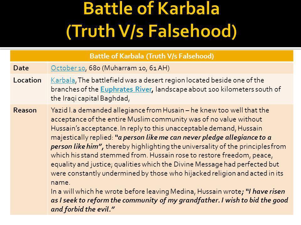 Battle of Karbala (Truth V/s Falsehood) DateOctober 10October 10, 680 (Muharram 10, 61 AH) LocationKarbalaKarbala, The battlefield was a desert region