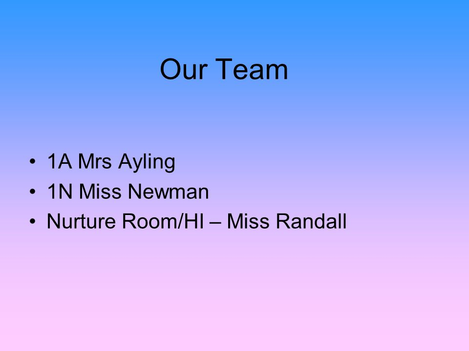 Our Team 1A Mrs Ayling 1N Miss Newman Nurture Room/HI – Miss Randall