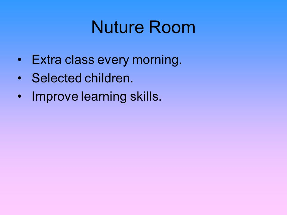 Nuture Room Extra class every morning. Selected children. Improve learning skills.