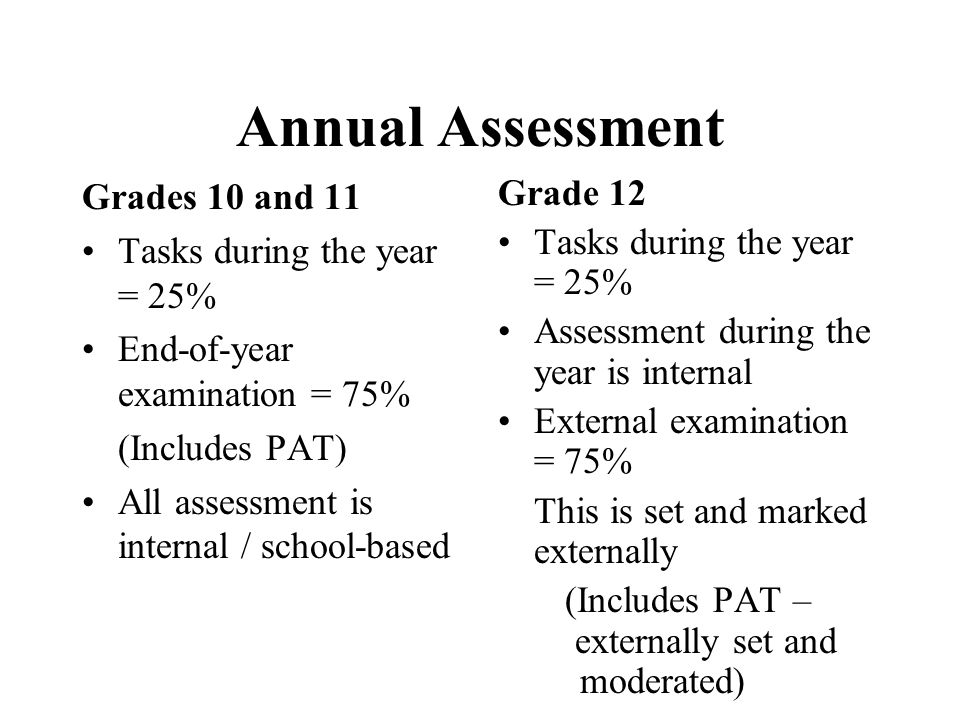 Annual Assessment Grades 10 and 11 Tasks during the year = 25% End-of-year examination = 75% (Includes PAT) All assessment is internal / school-based