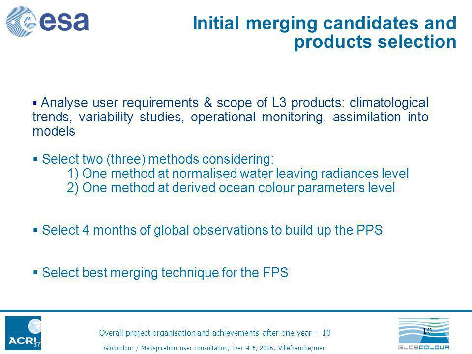 Overall project organisation and achievements after one year - 10 Globcolour / Medspiration user consultation, Dec 4-6, 2006, Villefranche/mer 10 Analyse user requirements & scope of L3 products: climatological trends, variability studies, operational monitoring, assimilation into models Select two (three) methods considering: 1) One method at normalised water leaving radiances level 2) One method at derived ocean colour parameters level Select 4 months of global observations to build up the PPS Select best merging technique for the FPS Initial merging candidates and products selection