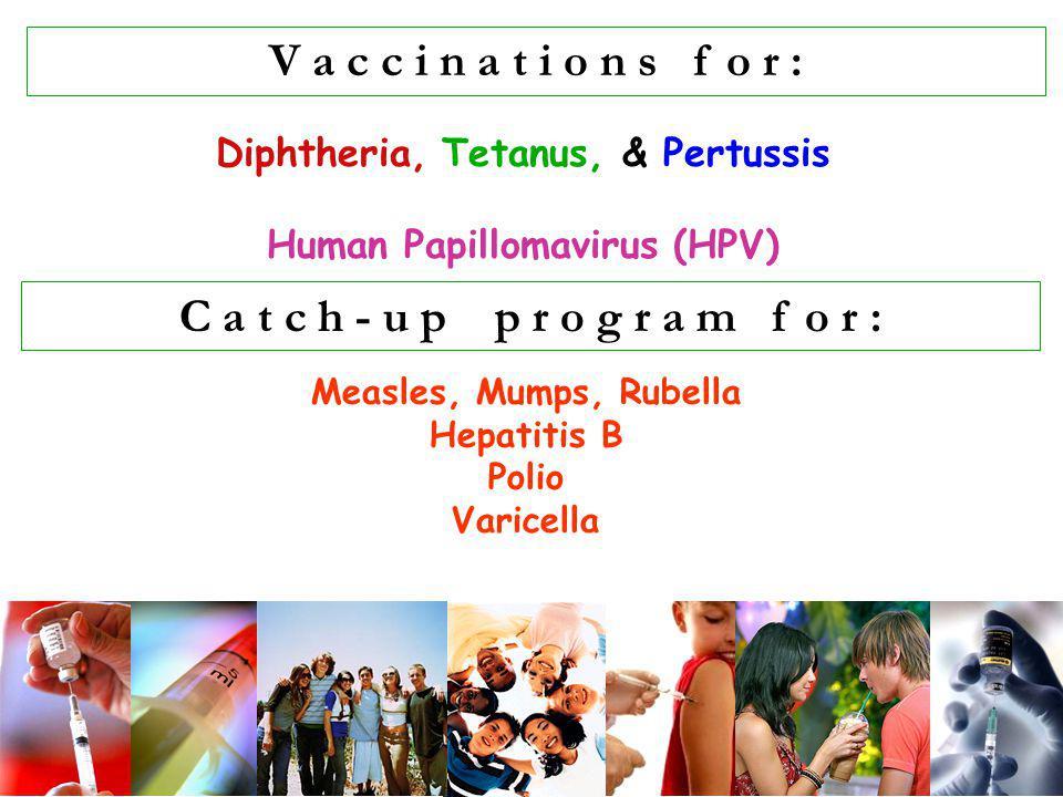 V a c c i n a t i o n s f o r : C a t c h - u p p r o g r a m f o r : Diphtheria, Tetanus, & Pertussis Human Papillomavirus (HPV) Measles, Mumps, Rube