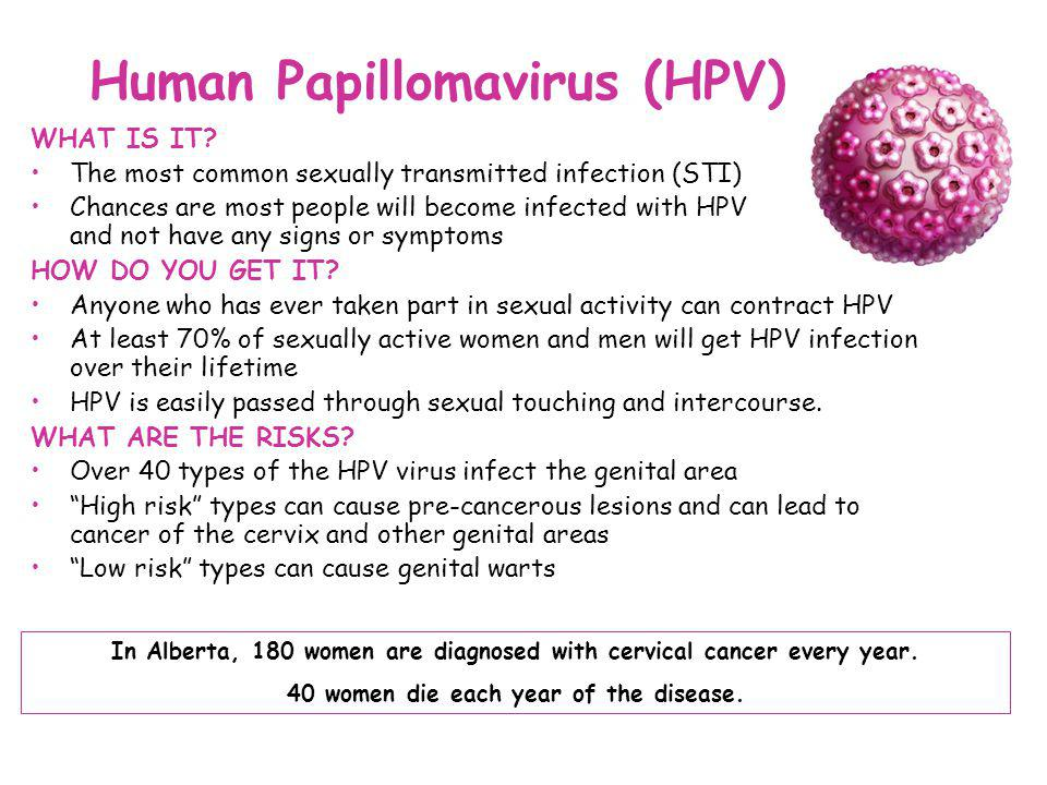 Human Papillomavirus (HPV) WHAT IS IT? The most common sexually transmitted infection (STI) Chances are most people will become infected with HPV and