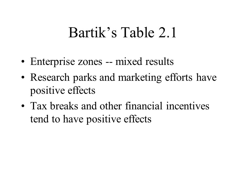 Bartiks Table 2.1 Enterprise zones -- mixed results Research parks and marketing efforts have positive effects Tax breaks and other financial incentives tend to have positive effects
