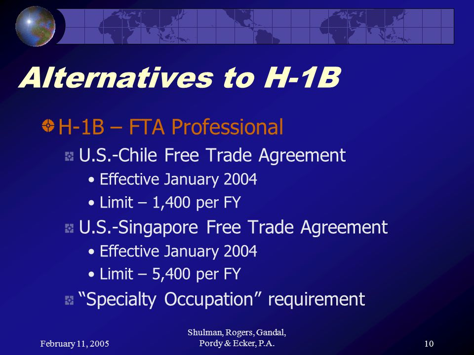 February 11, 2005 Shulman, Rogers, Gandal, Pordy & Ecker, P.A.10 Alternatives to H-1B H-1B – FTA Professional U.S.-Chile Free Trade Agreement Effectiv