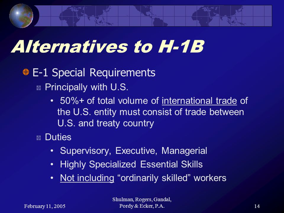 February 11, 2005 Shulman, Rogers, Gandal, Pordy & Ecker, P.A.14 Alternatives to H-1B E-1 Special Requirements Principally with U.S. 50%+ of total vol