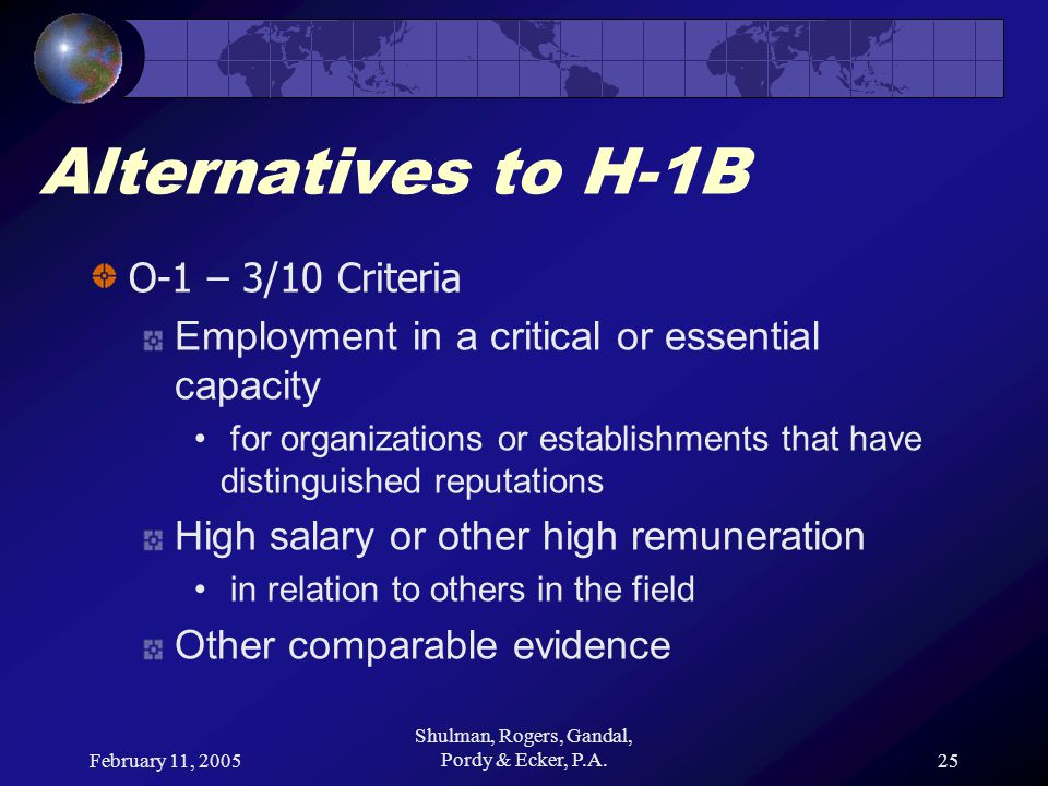 February 11, 2005 Shulman, Rogers, Gandal, Pordy & Ecker, P.A.25 Alternatives to H-1B O-1 – 3/10 Criteria Employment in a critical or essential capaci